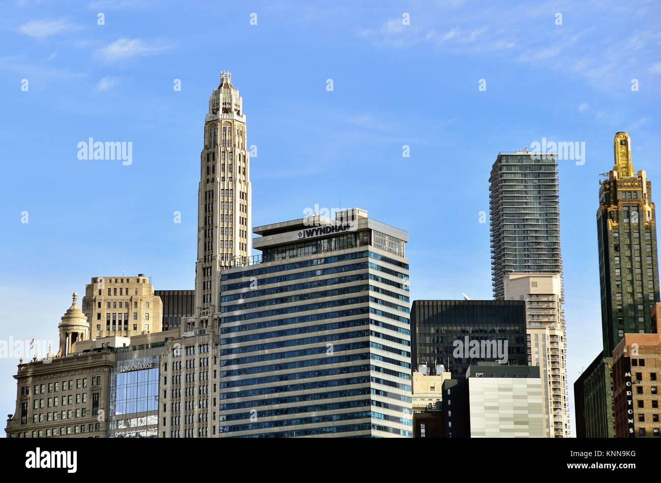 Contrasting architectural styles abound as eras coexist along the south bank of the Chicago River. Chicago, Illinois, - Stock Image