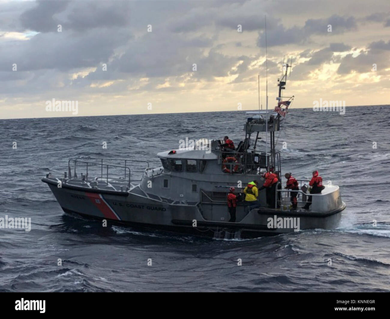 A Coast Guard 47-foot Motor Life Boat crew from Station