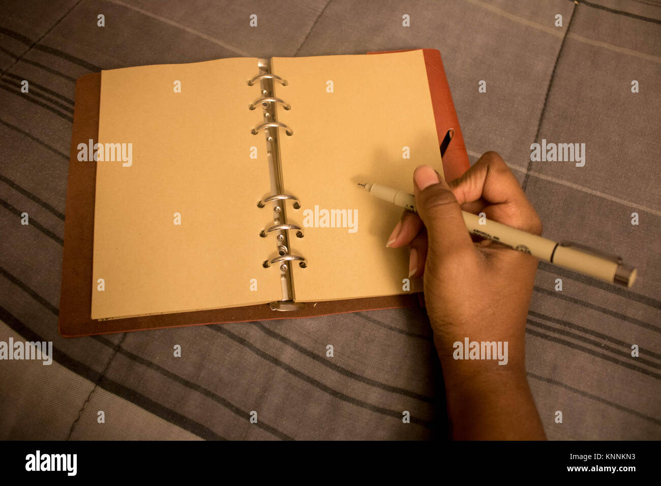 Hand Writing In Empty Book - Stock Image