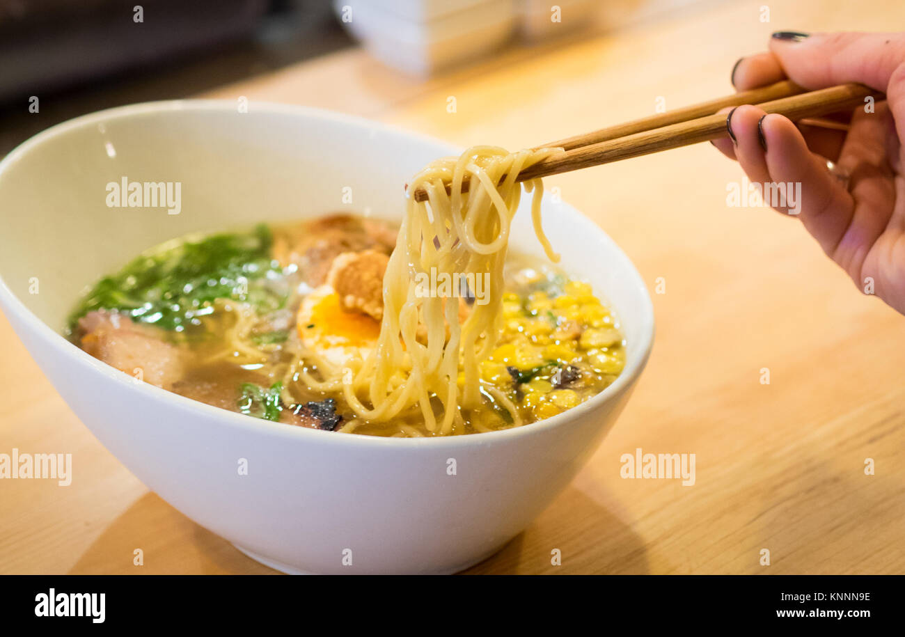 Japanese ramen noodles (prairie pork) from the Prairie Noodle Shop in Edmonton, Alberta, Canada. - Stock Image