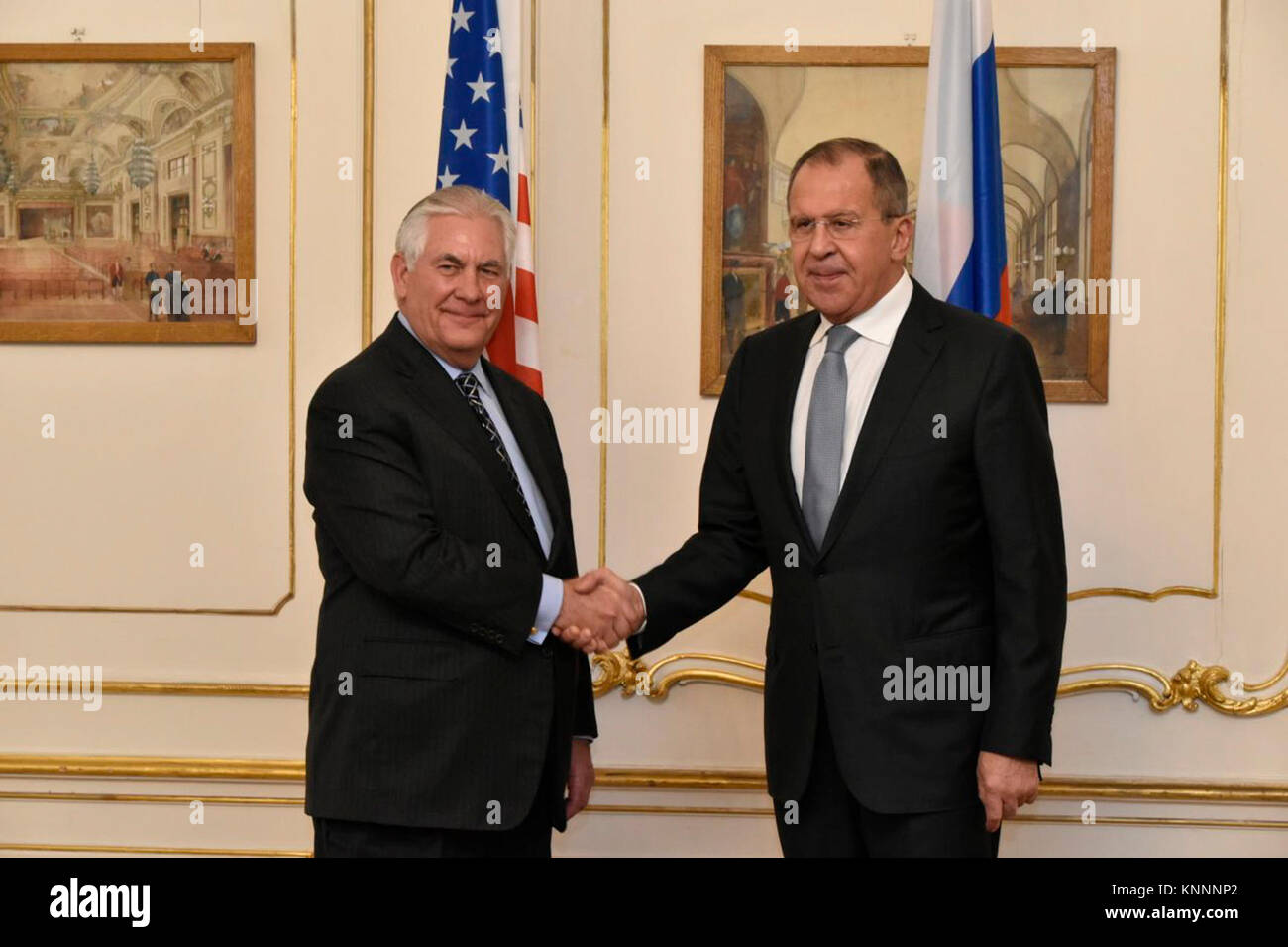 Secretary Tillerson Meets With Russian Foreign Minister Lavrov at OSCE in Austria - Stock Image