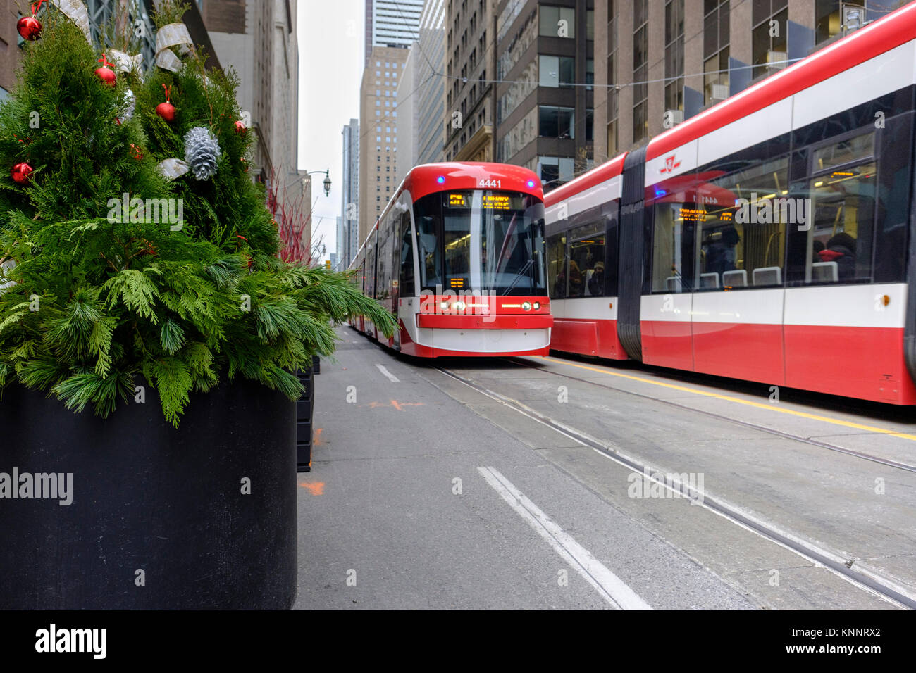 Toronto Transit Commission (TTC) Bombardier Flexity Outlook streetcar on King Street W, downtown Toronto, Canada. - Stock Image