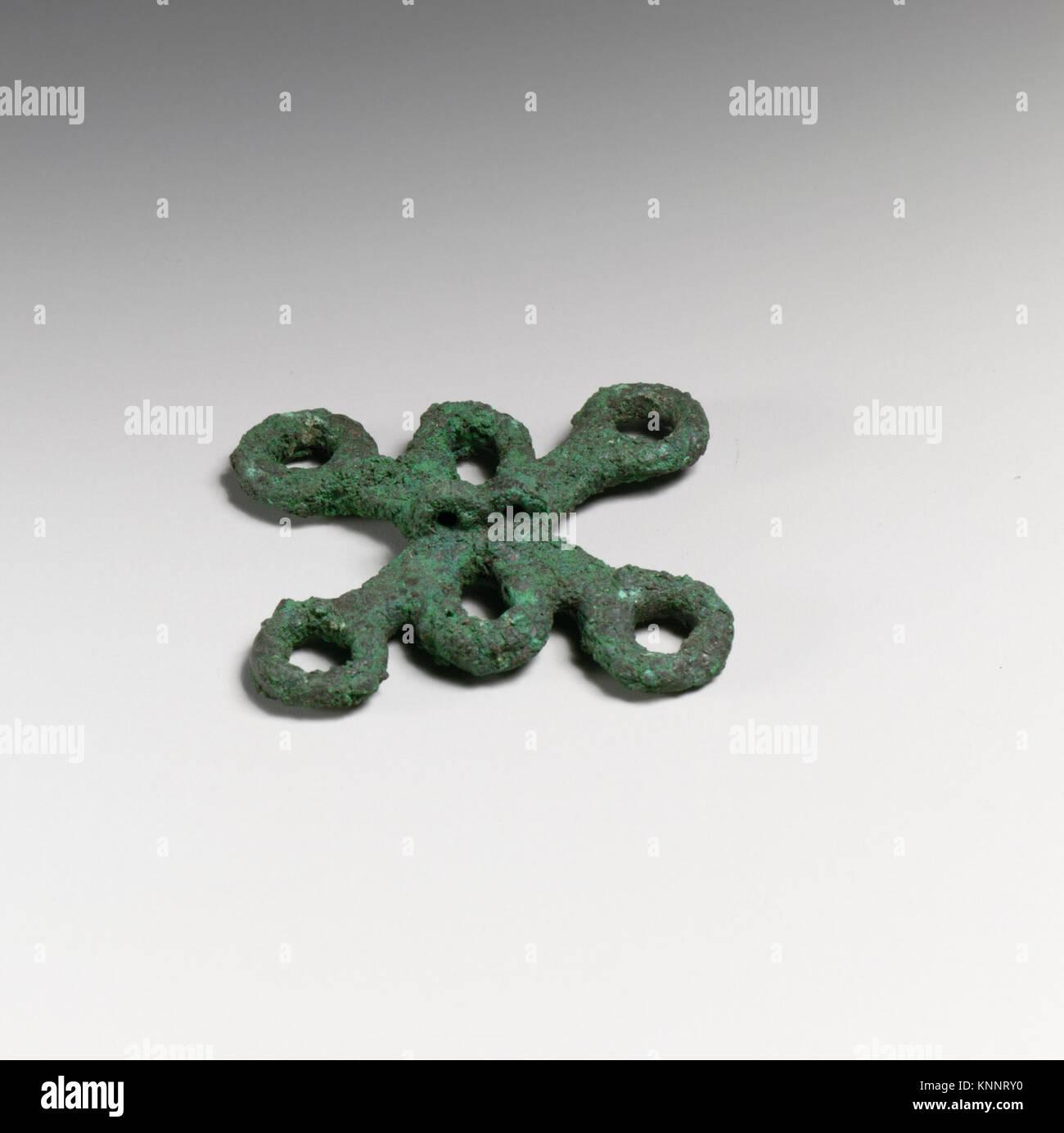 Chariot fragments, loops MET DP20759 253024 Etruscan, Chariot fragments, loops, ca. 500?480 B.C., Bronze, 2 1/16 Stock Photo