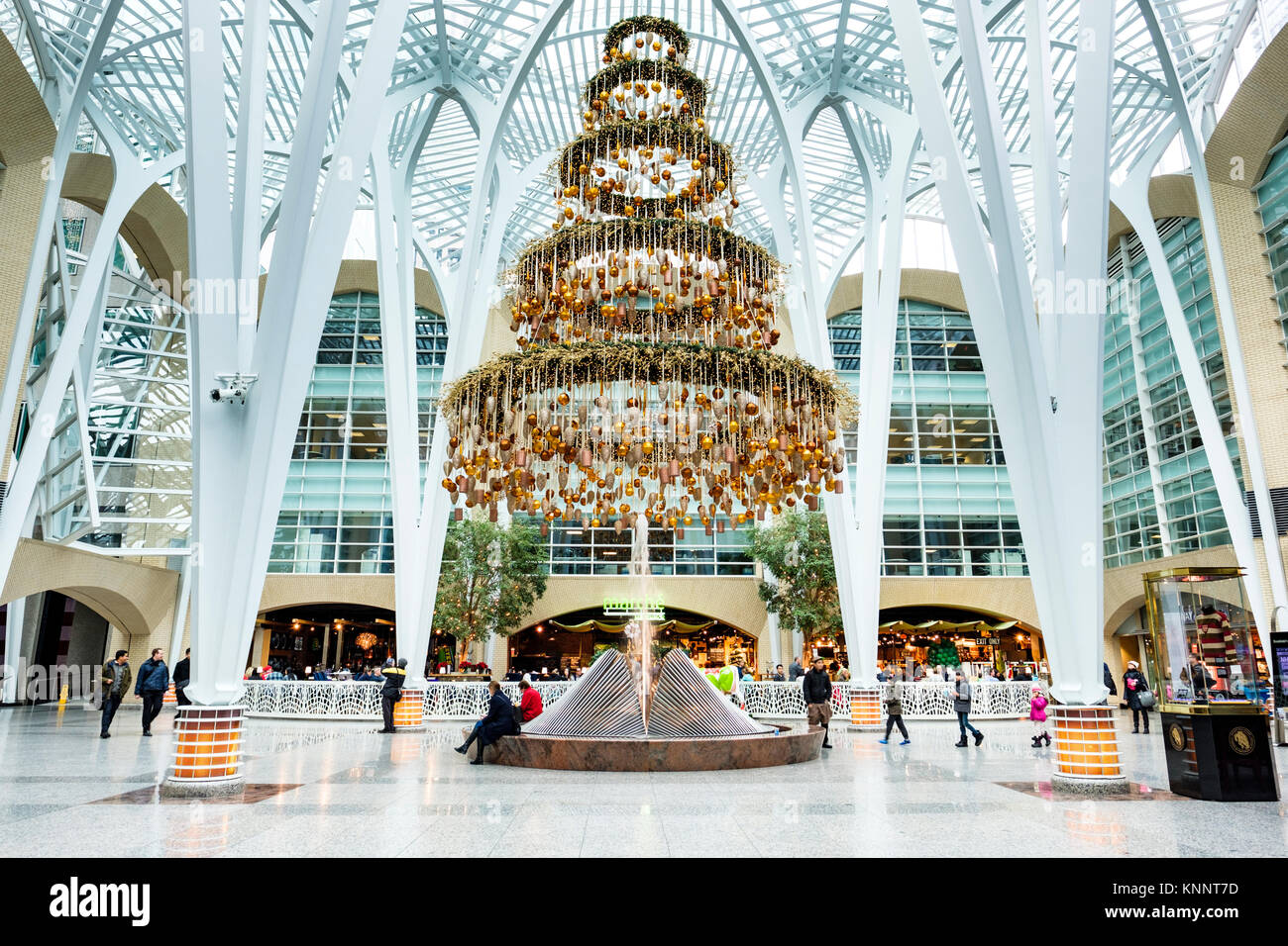 Brookfield Place (formely BCE Place) Santiago Calatrava's Allen Lambert Galleria Christmas decorations, downtown - Stock Image