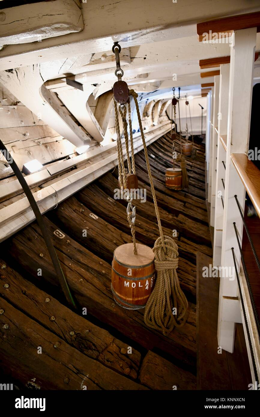 Historic USS Constellation navy ship molasses, Baltimore, MD, USA Stock Photo
