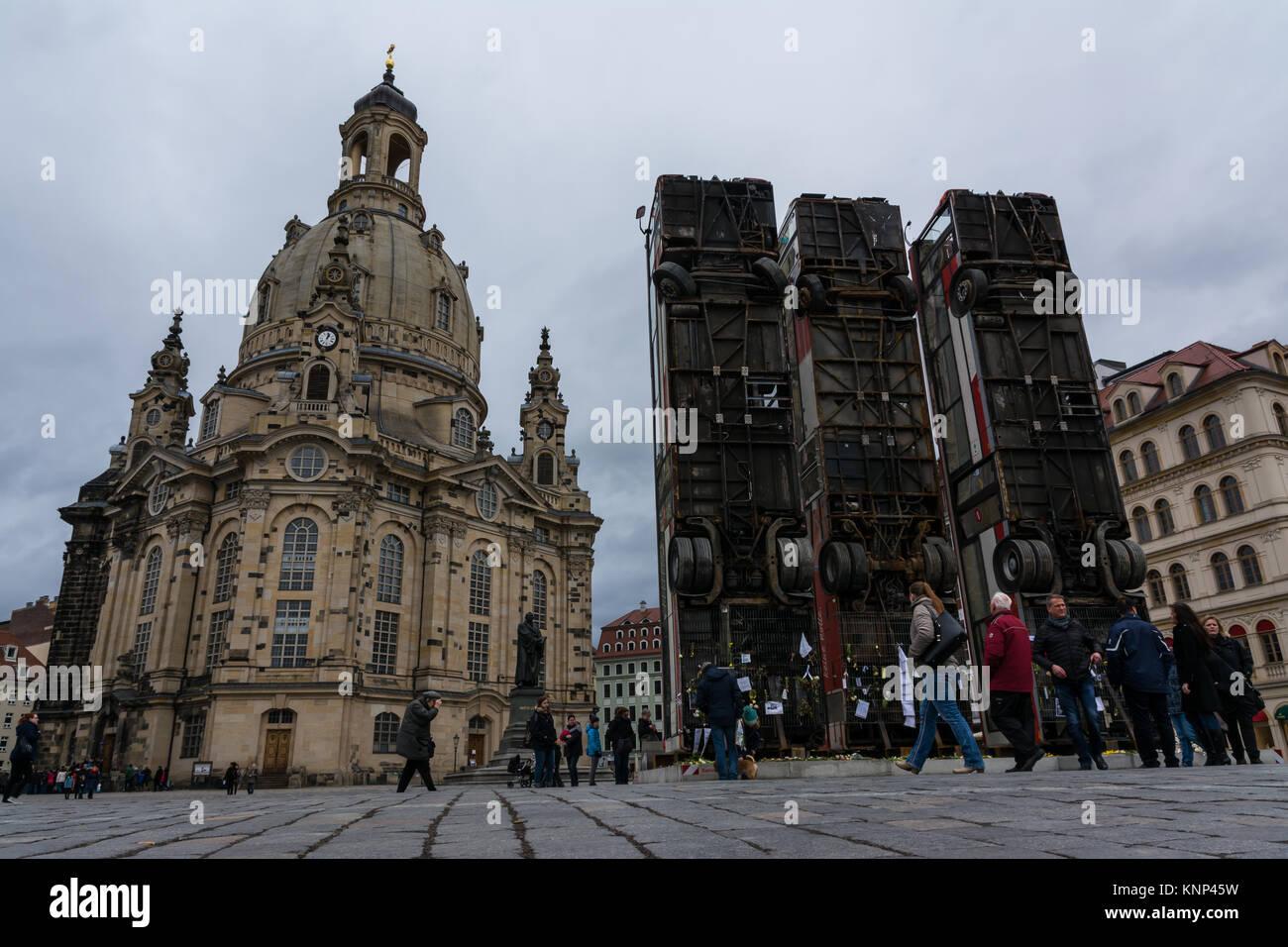 Dresden Frauenkirche Exterior City Landscape Square Marktplatz Center Architecture Beautiful Religious Monument - Stock Image
