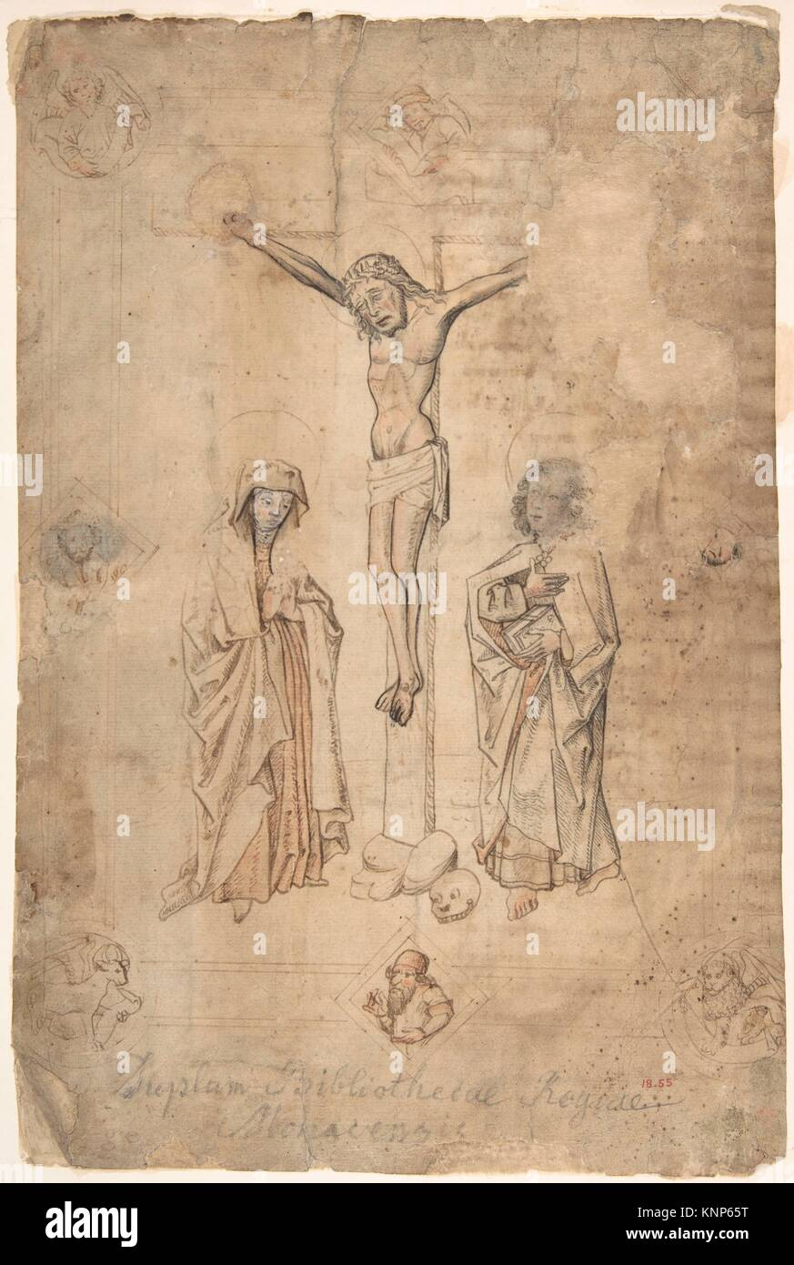 Crucifixion with the Virgin and St. John the Evangelist. Artist: Anonymous, German, 15th century; Date: 15th century; - Stock Image