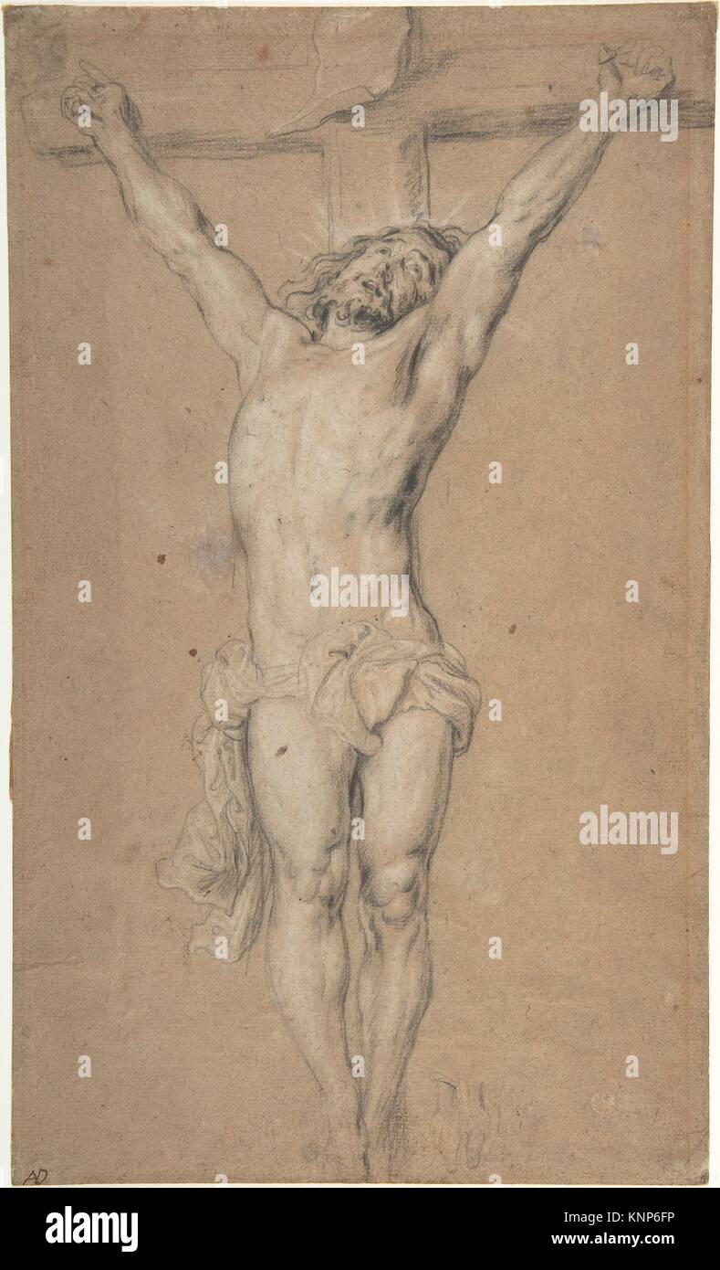 Christ on the Cross; verso: St. Jerome Reading by Candlelight, and Sketch of Male Torso (?). Artist: After Anthony Stock Photo
