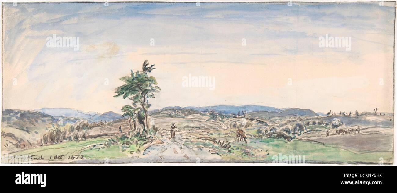 Landscape. Artist: Johan Barthold Jongkind (Dutch, Latrop 1819-1891 La-Côte-Saint-André); Date: 1834-91; - Stock Image