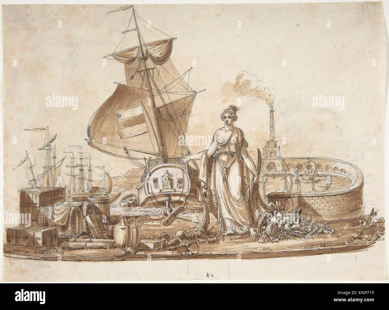 Allegory of Shipping. Artist: Charles Percier (French, Paris 1764-1838 Paris); Medium: Pen and black ink with brush - Stock Image