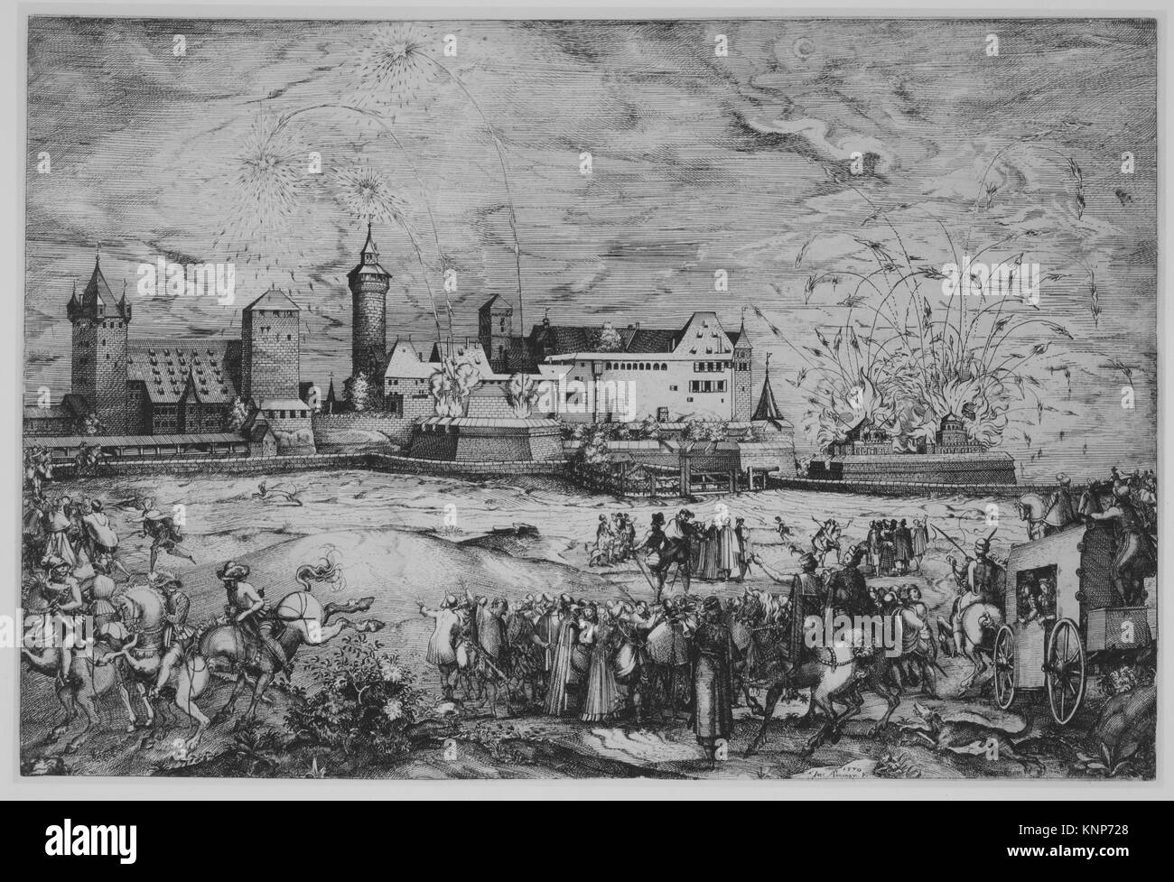 Entry of Maximilian II into Nuremberg, June 7, 1570. Artist: Jost Amman (Swiss, Zurich before 1539-1591 Nuremberg); - Stock Image