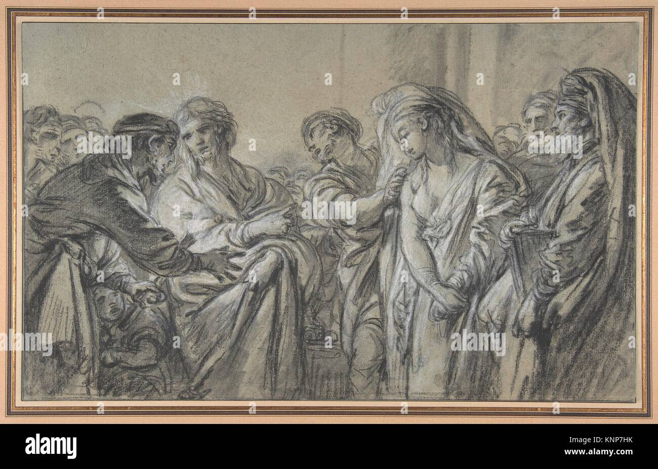 Christ and the Woman Taken in Adultery. Artist: François Boucher (French, Paris 1703-1770 Paris); Medium: Black - Stock Image