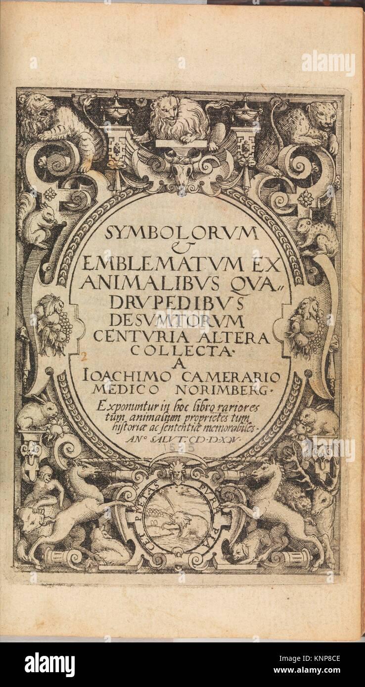 I) Symbolarum et Emblematum ex Aquatilibus et Reptilibus Desumptorum. Centuria Quarta. (1604). Author: Written by - Stock Image