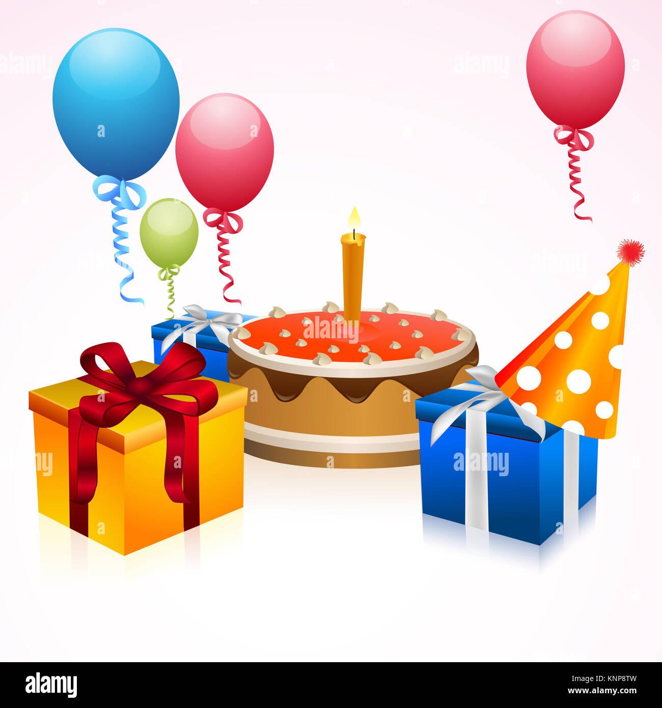 Happy Birthday Greeting Card Background Vector Illustration Stock