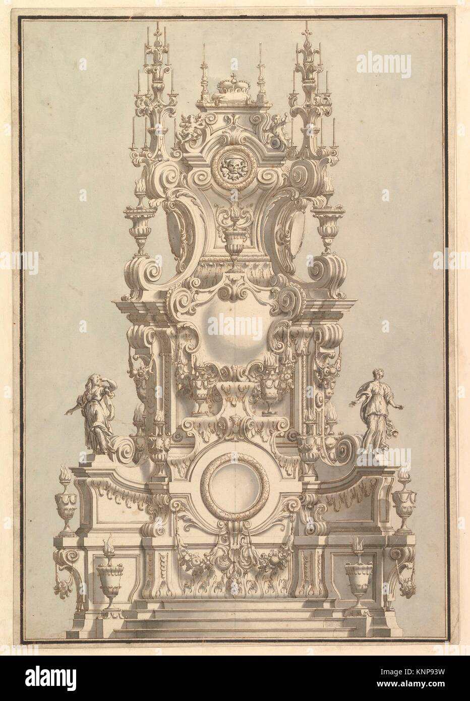Elevation of a Catafalque, Surmounted by a Royal Crown, with Scull and Cross Bones in Wreath-Encircled Cartouche - Stock Image