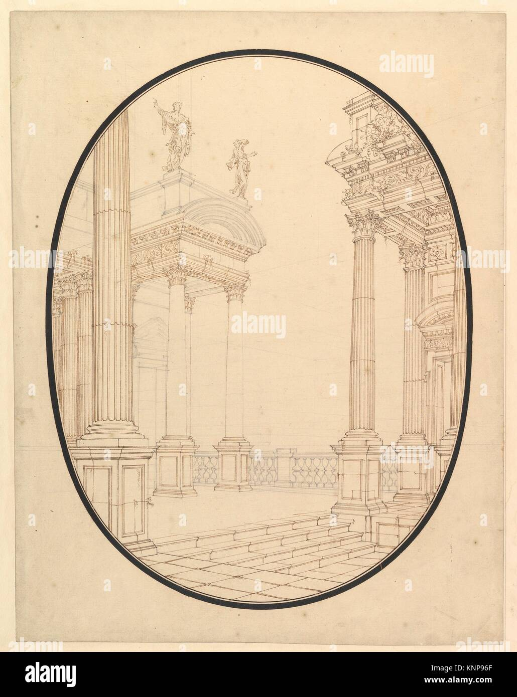 Architectural Perspective, in an Oval: Porch of a Palace with Corinthian Colums. Artist: Workshop of Ferdinando - Stock Image