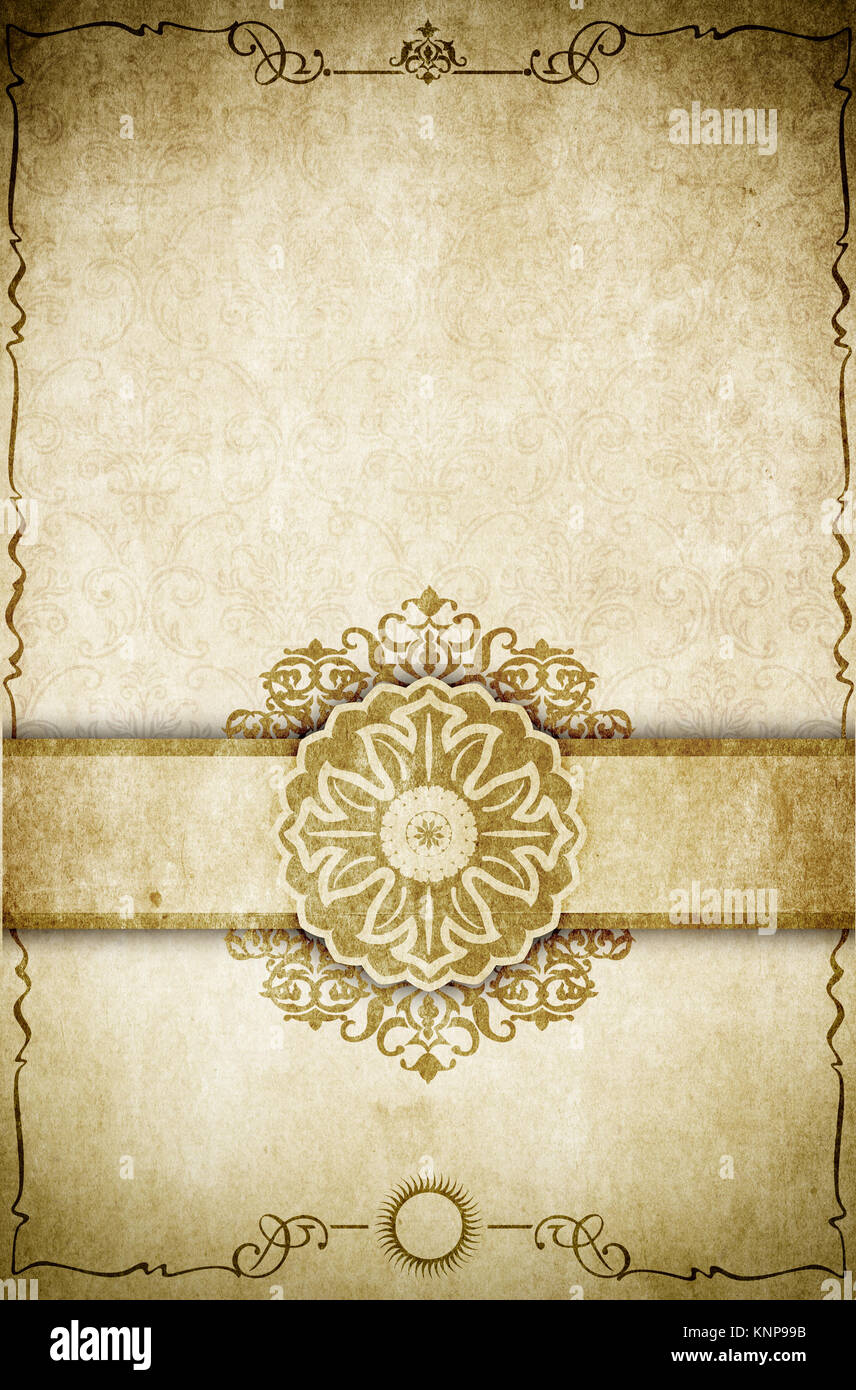 Aging Paper Background With Decorative Vintage Frameelegant Border And Old Fashioned Ornament Book Page Design