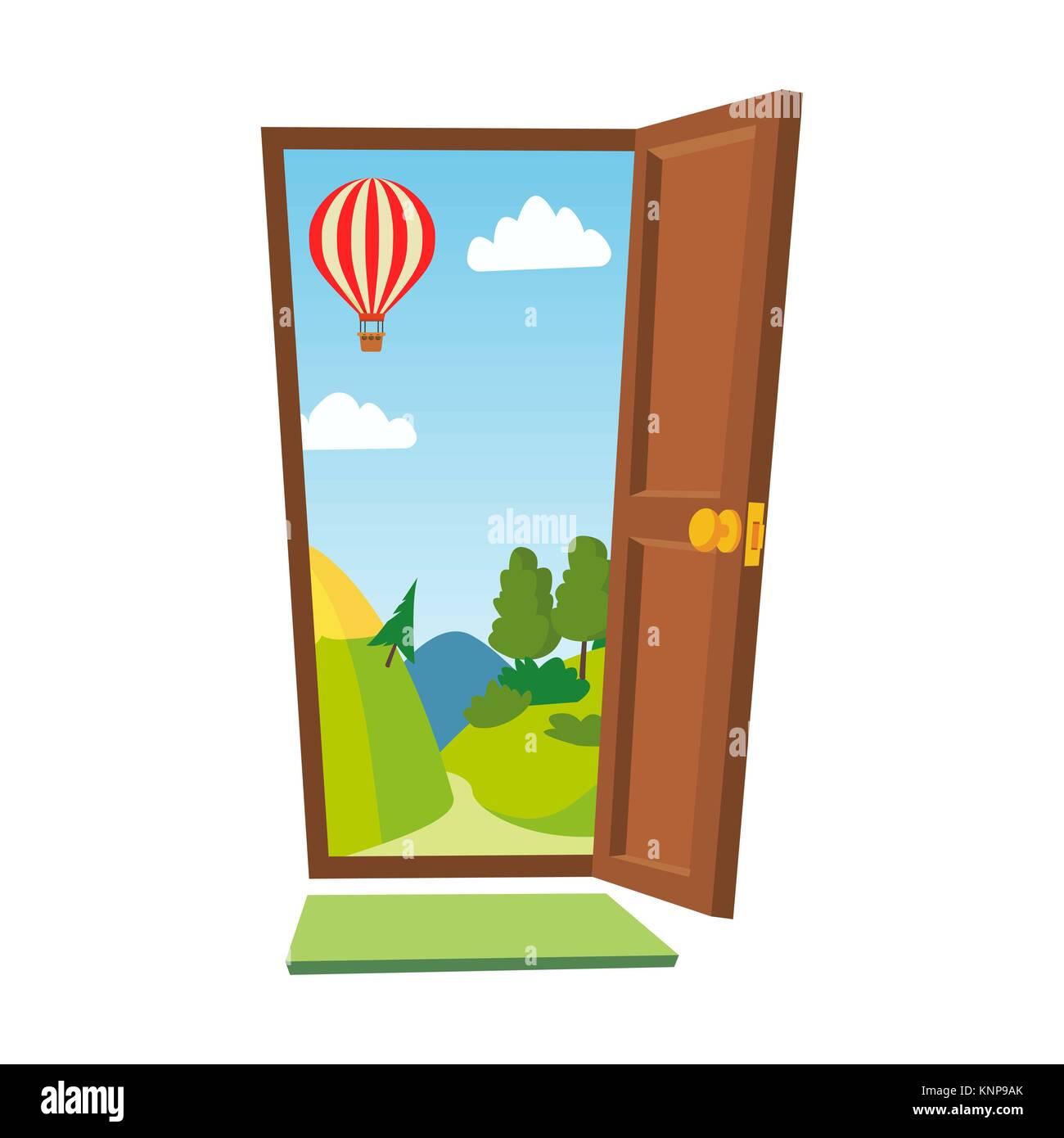 Illustration Cartoon Front Door Inside Stock Photos Illustration