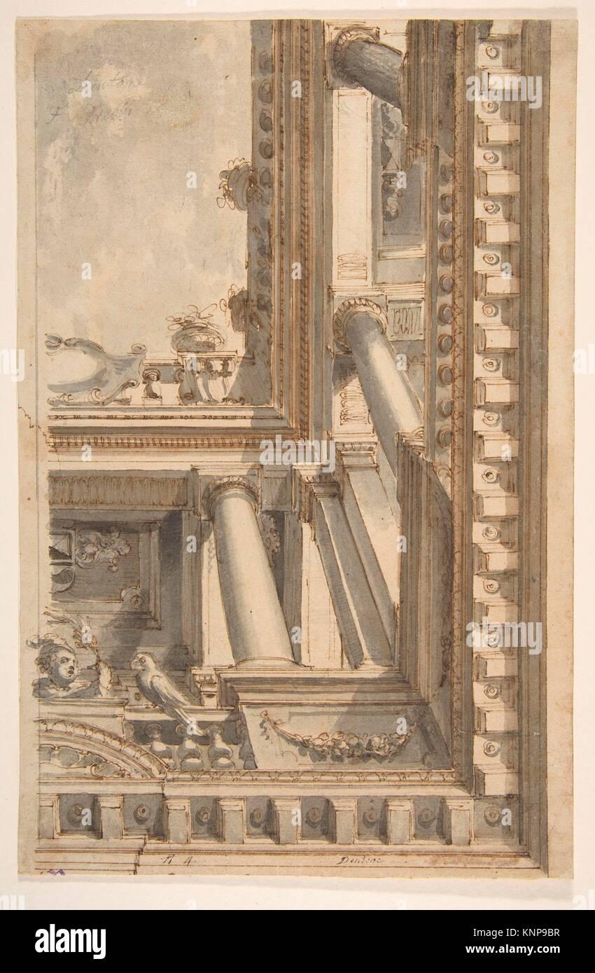 Design for a Trompe L'Oeil Ceiling with a Loggia. Artist: Faustino Trebbi (Italian, Budrio [Bologna] 1761-1836 - Stock Image