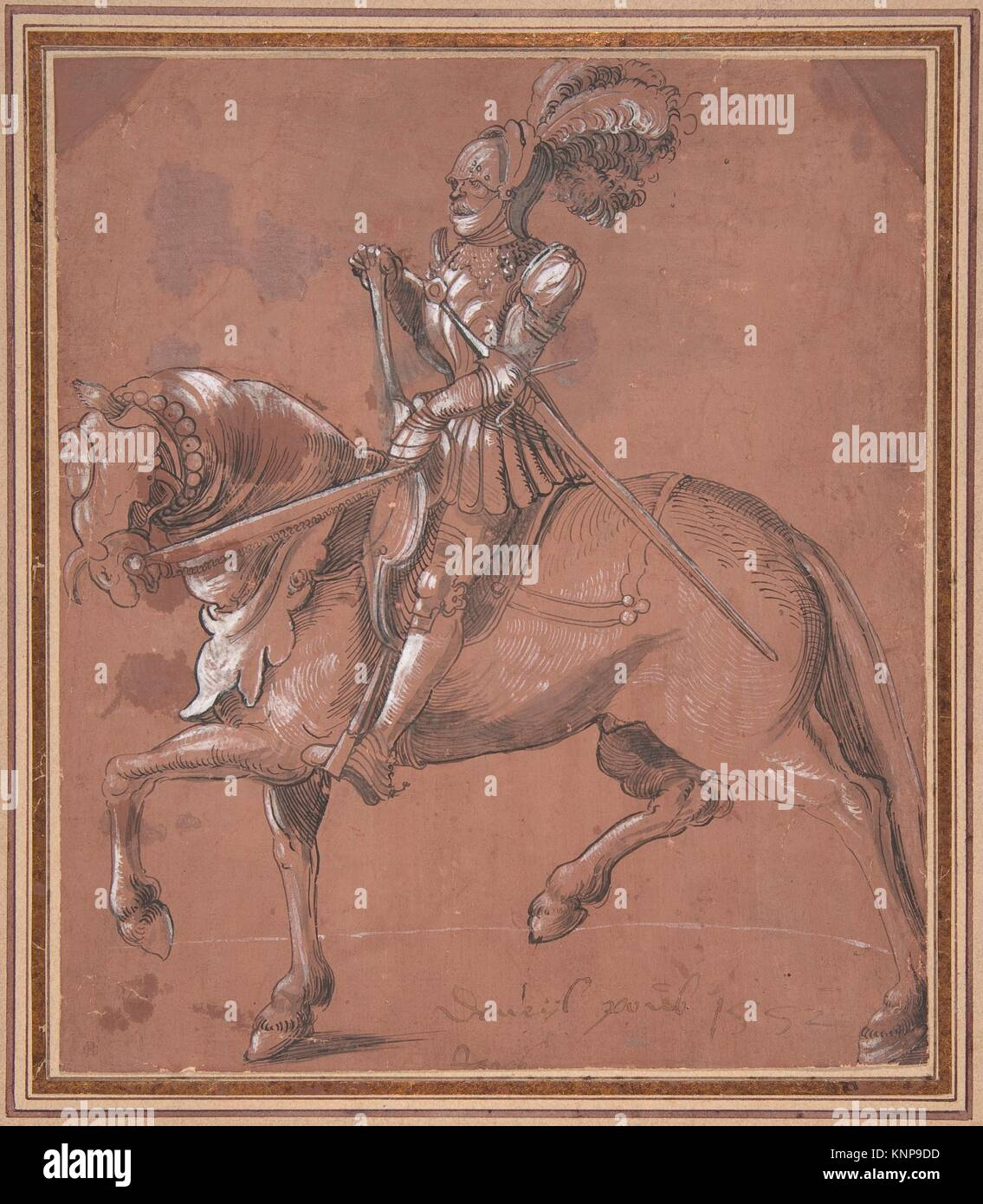 Knight on Horseback. Artist: Anonymous, German, 16th century; Date: ca. 1520; Medium: Pen and black ink and grey - Stock Image