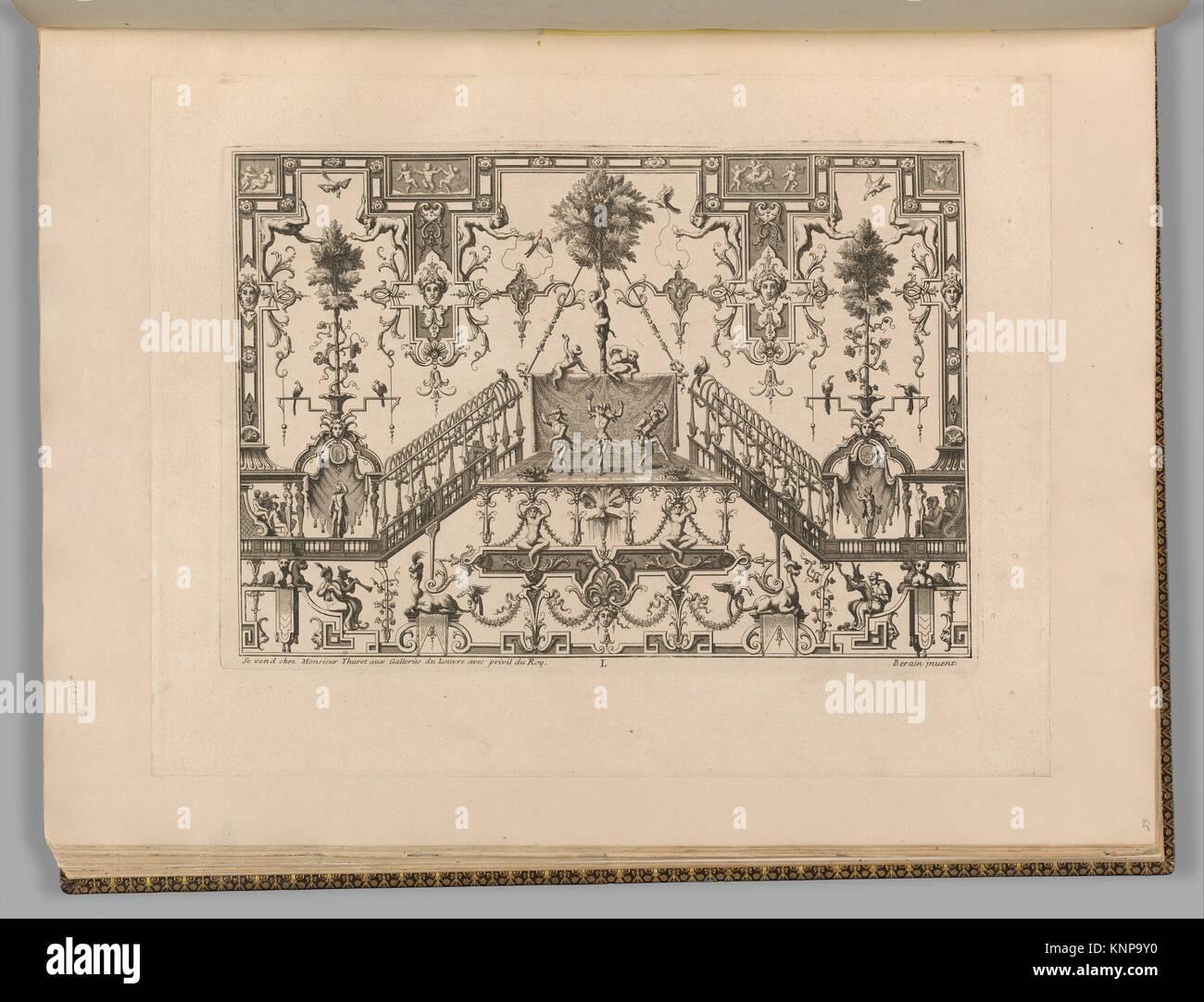 Ornament Designs Invented by J. Berain. Artist and publisher: Jean Berain (French, Saint-Mihiel 1640-1711 Paris); - Stock Image