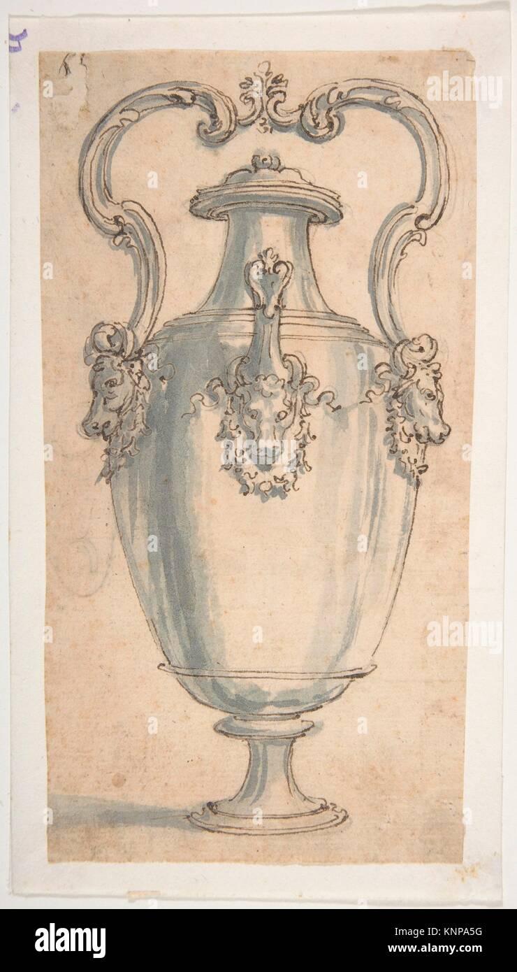 Design for a Ewer with Bull's Heads under the Handels and Spout. Artist: Giovanni Battista Foggini (Italian, - Stock Image
