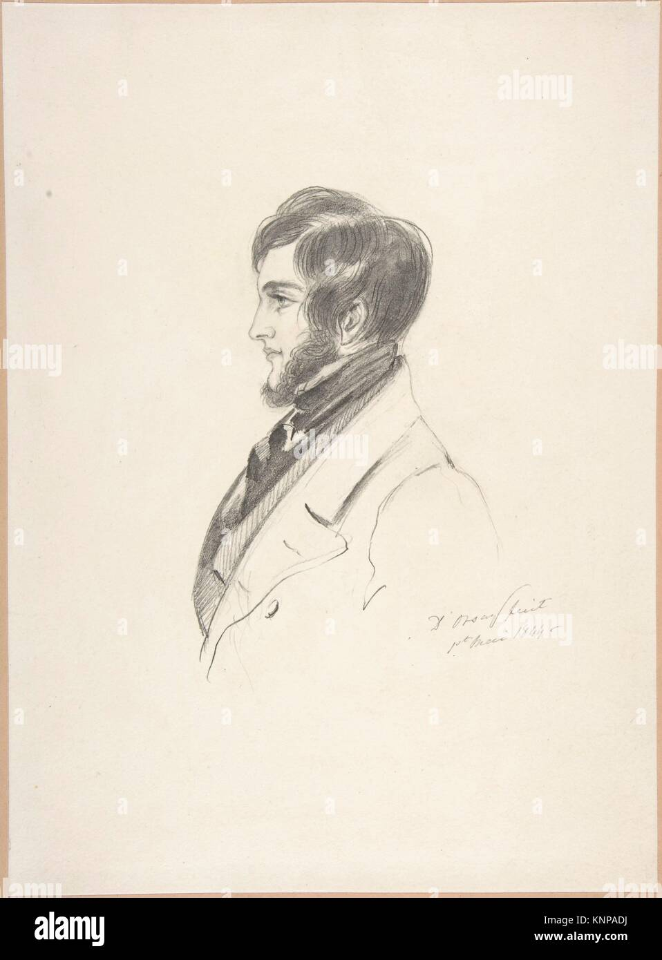 Portrait of Charles Kinnaird Sheridan. Artist: Count Alfred Guillaume Gabriel D'Orsay (French, 1801-1852); Date: - Stock Image