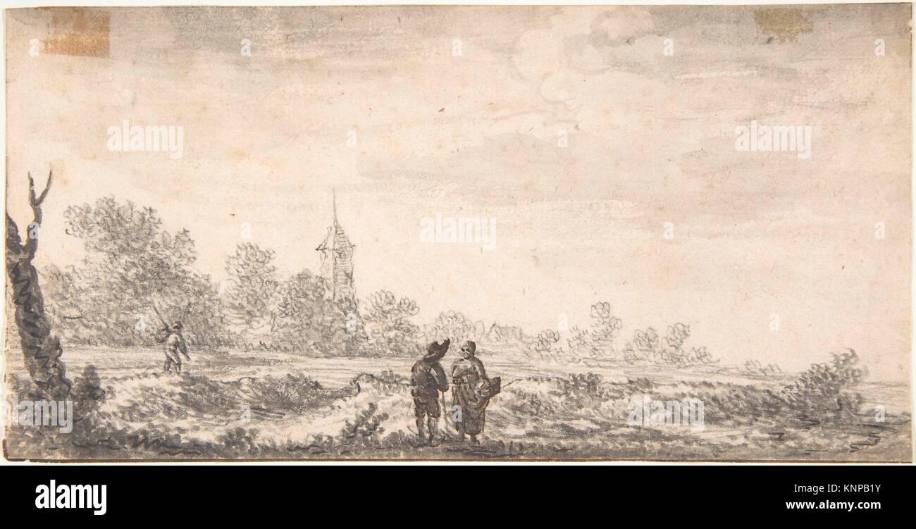 Landscape with Two Figures Conversing. Artist: Attributed to Salomon van Ruysdael (Dutch, Naarden, born ca. 1600 Stock Photo
