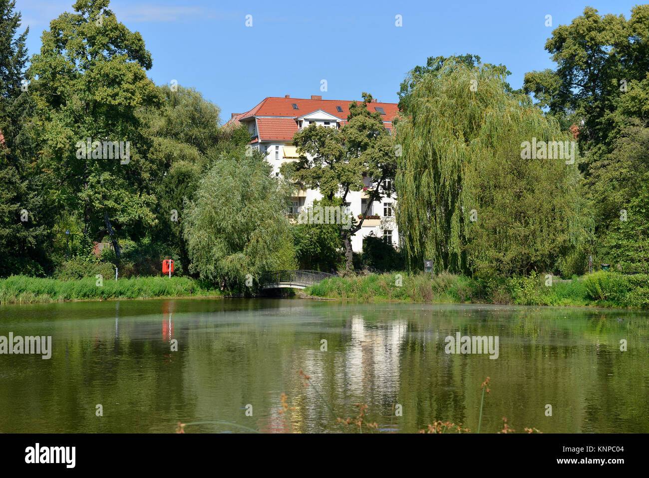Clear lake, old park, old temple court, temple court, Berlin, Germany, Klarensee, Alter Park, Alt-Tempelhof, Tempelhof, - Stock Image