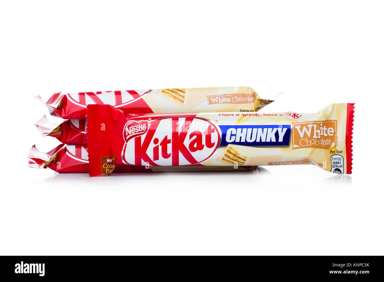 LONDON, UK -DECEMBER 07, 2017: Kit Kat chunky chocolate bar white chocolate on white background. Bars Kit Kat is - Stock Image