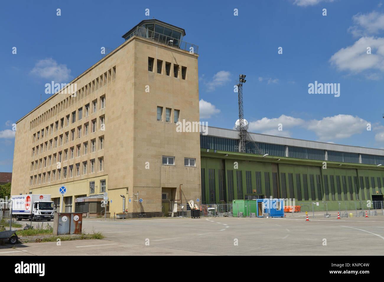 Tower, airport Tempelhof, Tempelhofer field, temple court, Berlin, Germany, Flughafen Tempelhof, Tempelhofer Feld, - Stock Image
