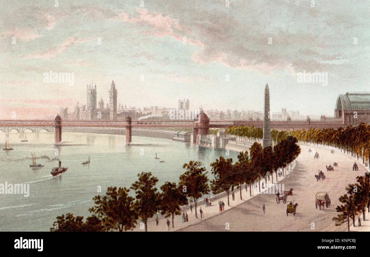 The Embankment, London, Victorian illustration - Stock Image