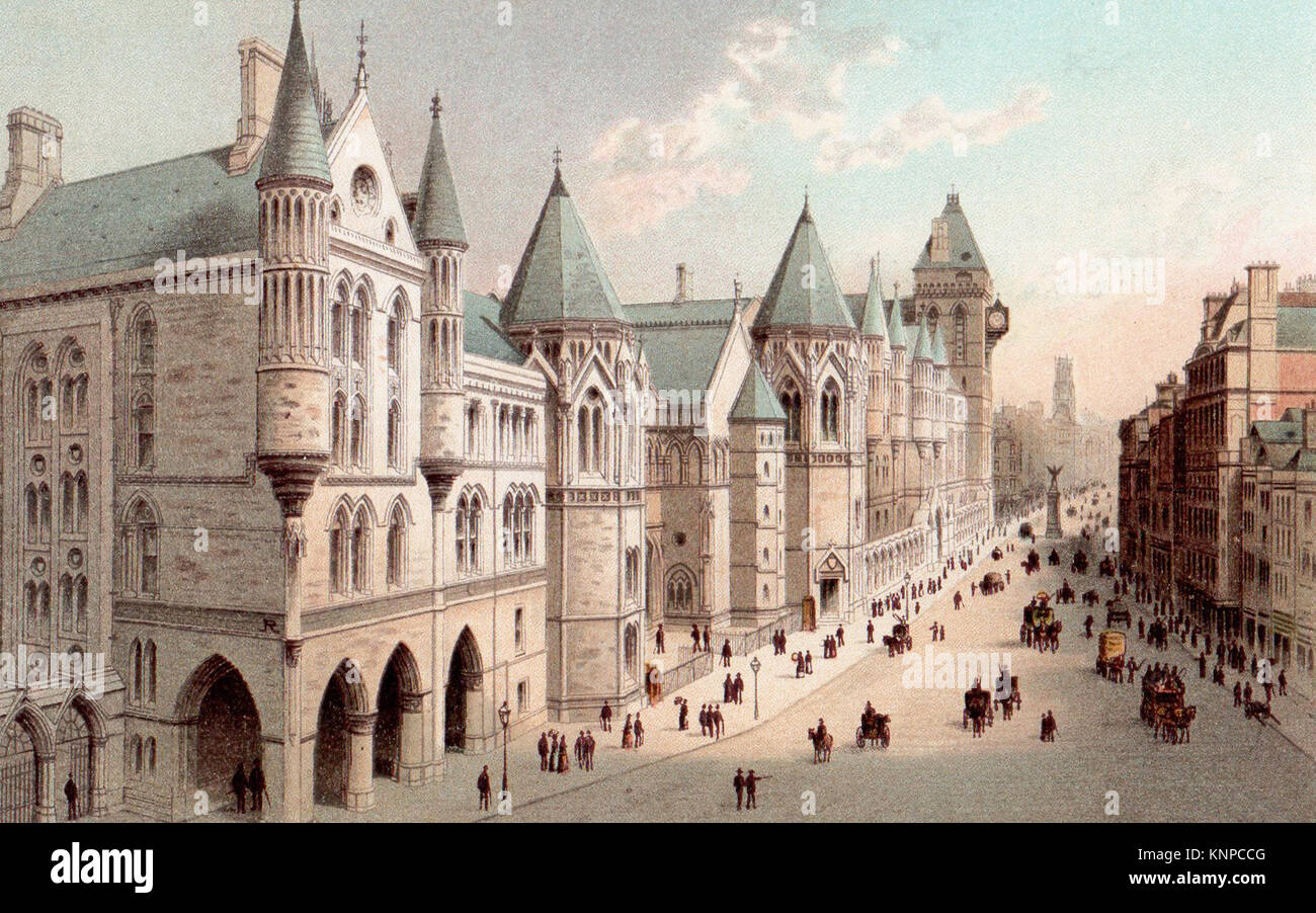 New Law Courts, Fleet Street, London, Victorian illustration - Stock Image
