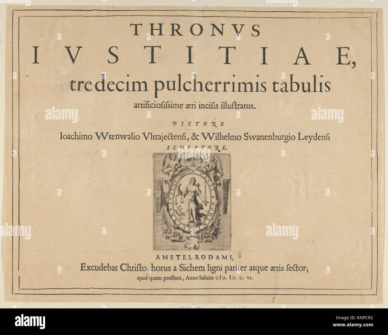 Typographic Title Page with a Vignette Depicting the Allegorical Figure of Justice, from Thronus Justitiae, tredecim - Stock Image