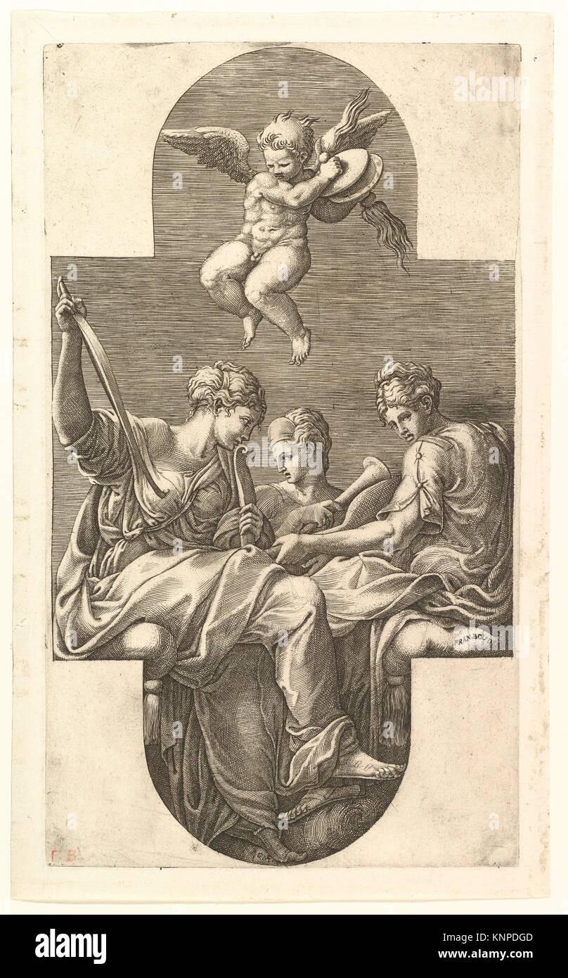 Three Muses and a Putto with Cymbals, a cruciform composition, from a series of eight compositions after Francesco - Stock Image