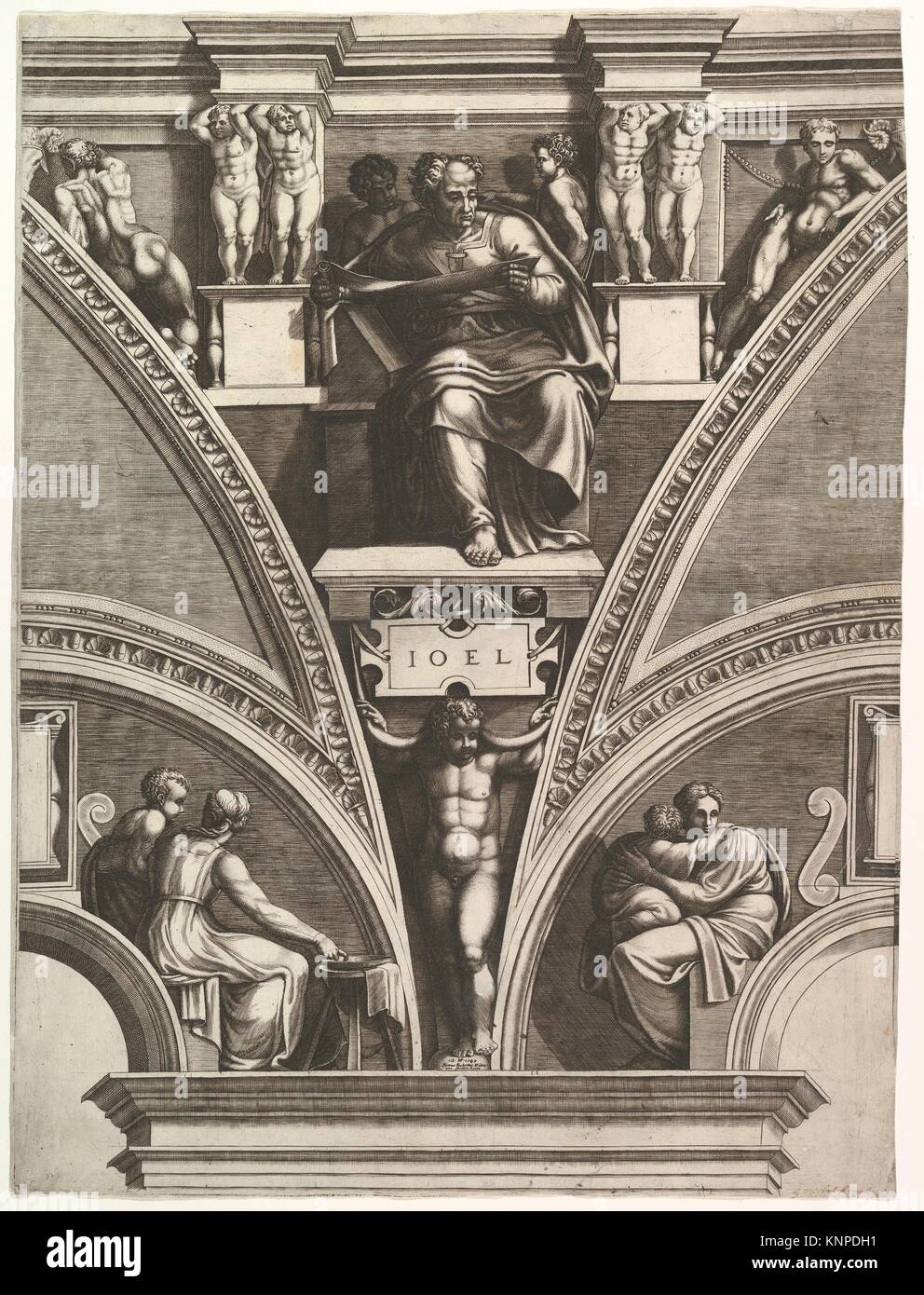 The Prophet Joel; from the series of Prophets and Sibyls in the Sistine Chapel. Artist: Engraved by Giorgio Ghisi Stock Photo