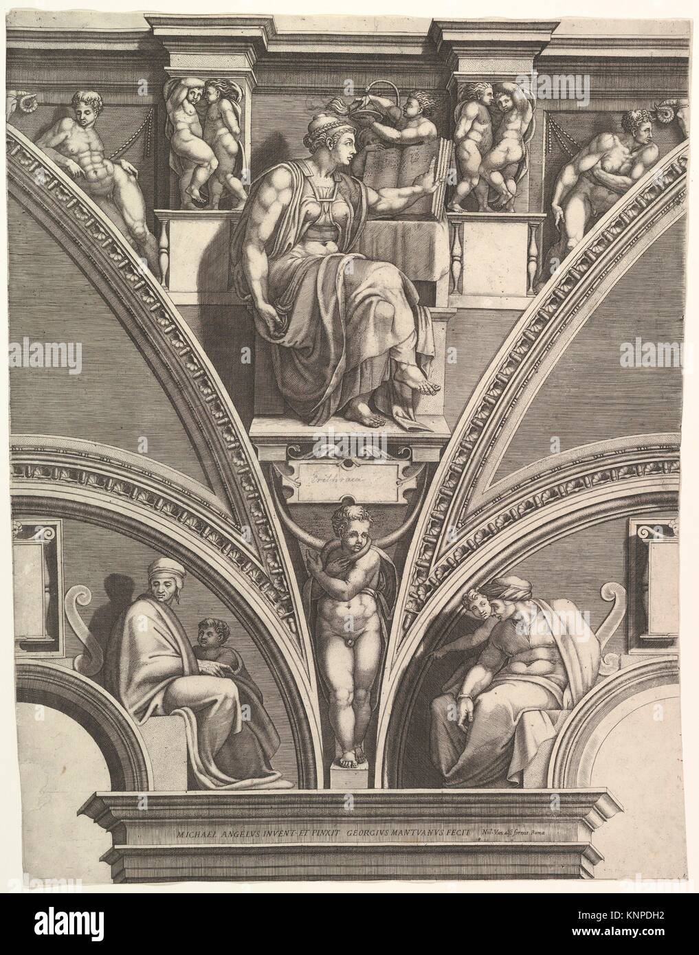 The Eritrean Sibyl; from the series of Prophets and Sibyls in the Sistine Chapel. Artist: Engraved by Giorgio Ghisi Stock Photo