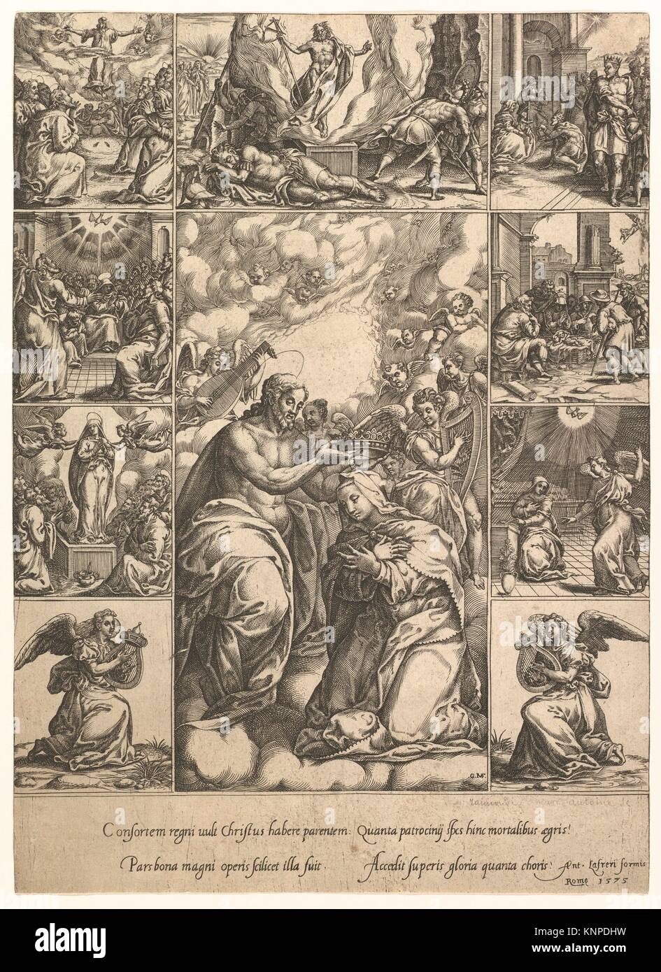 The Coronation of the Virgin; surrounded by nine vignettes with scenes from the life of Christ and the Virgin. Artist: Stock Photo
