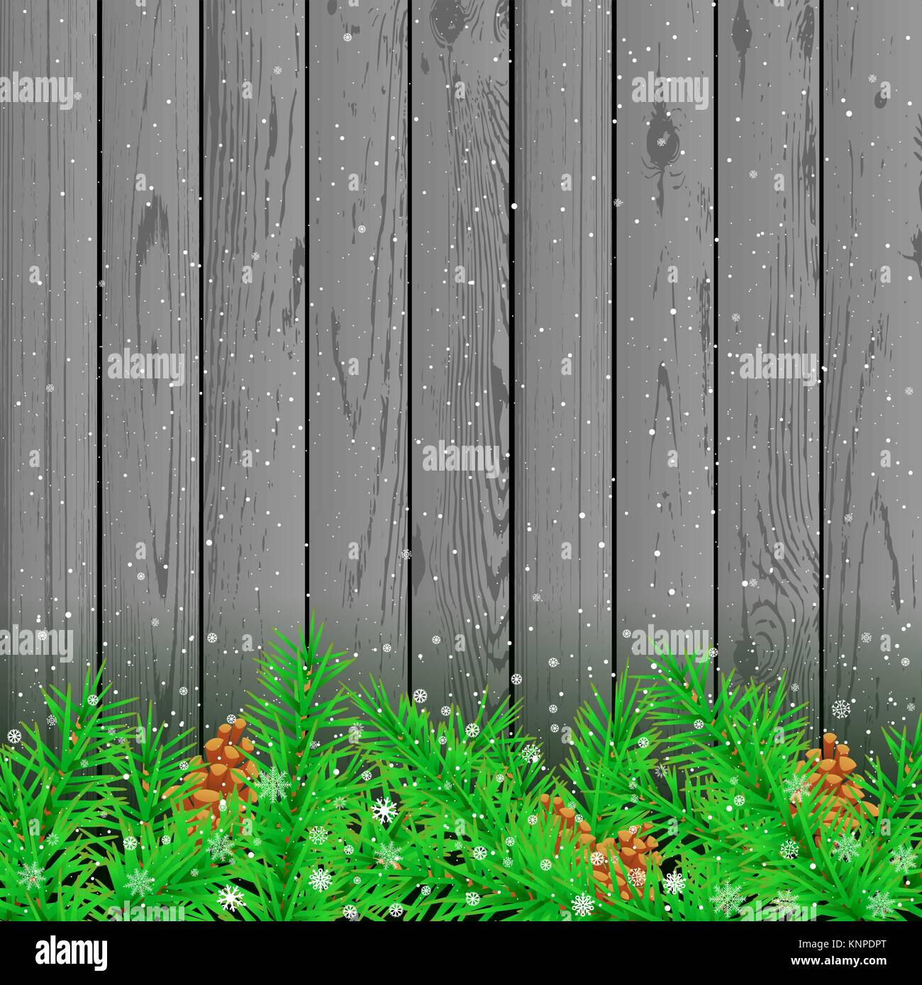Spruce snow gray wood background - Stock Vector