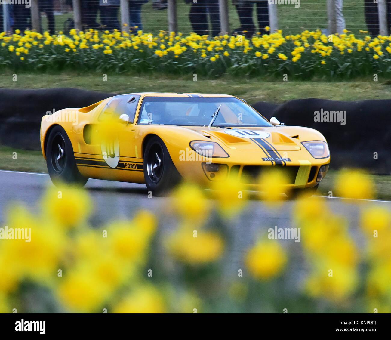 Thomas Studer, Conrad Ulrich, Ford GT40, Alan Mann trophy, Goodwood 74th Members Meeting, cars, Chris McEvoy, circuit Stock Photo