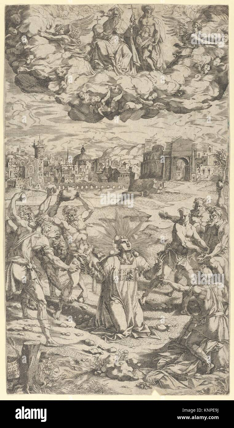 The Stoning of Saint Stephen. Artist: Domenico del Barbiere (Italian, Florence (?) 1506-1565 Paris); Medium: Engraving; - Stock Image
