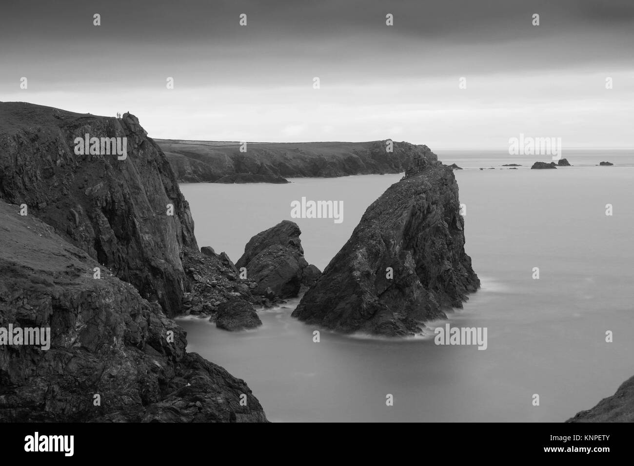 Black and White long exposure taken at Kynance Cove. - Stock Image