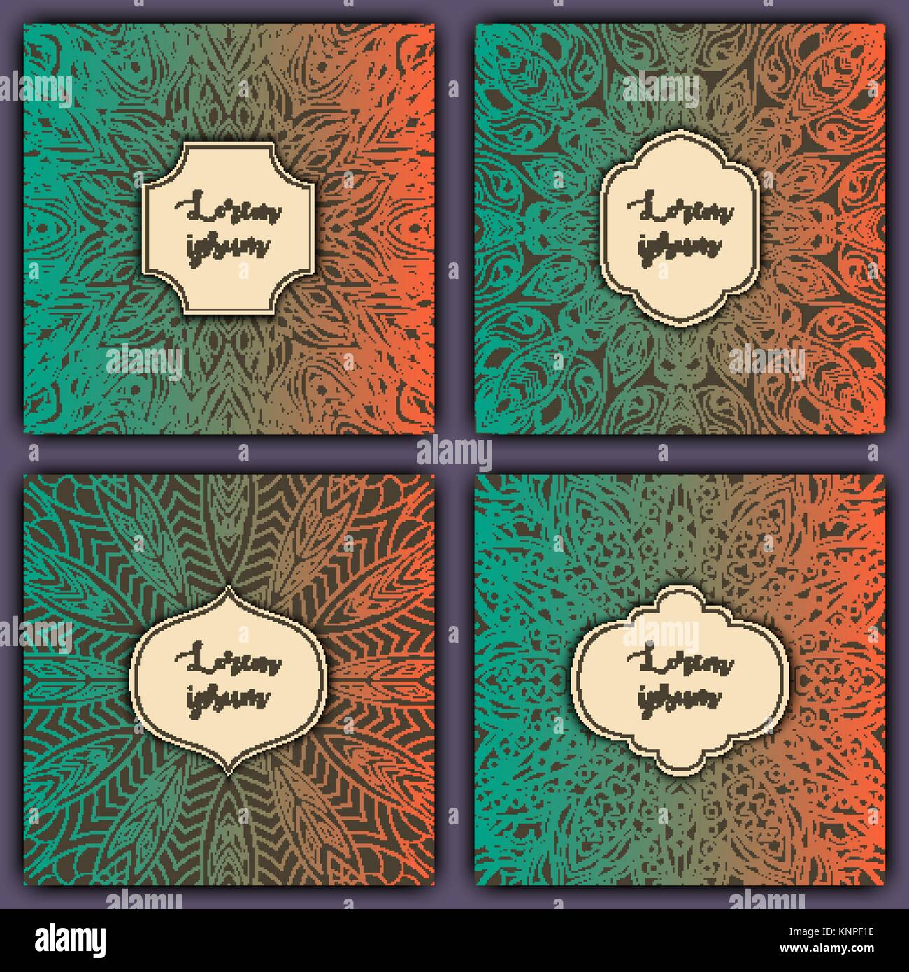 Set of mandala background cards vintage luxury glowing elements vintage luxury glowing elements vector decorative retro greeting card or invitation design stopboris Gallery