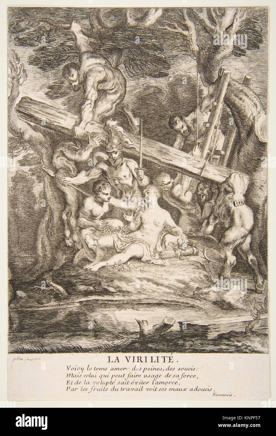 Manhood. Artist: Claude Gillot (French, Langres 1673-1722 Paris); Artist: Engraved by François Joullain (French, - Stock Image