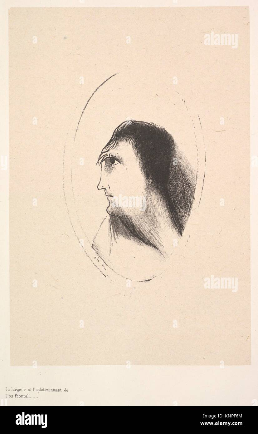 The breadth and flatness of the frontal bone. Artist: Odilon Redon (French, Bordeaux 1840-1916 Paris); Date: 1896; - Stock Image