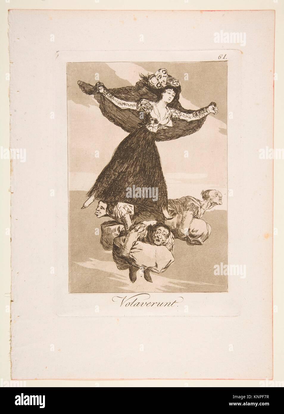 Plate 61 from 'Los Caprichos': They have flown (Volaverunt.). Series/Portfolio: Los Caprichos; Artist: Goya - Stock Image