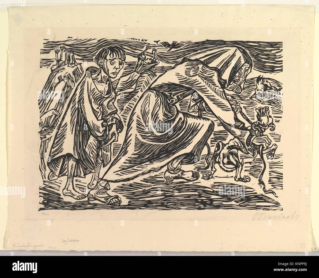 Dog Chasers (Hundefängerin). Artist: Ernst Barlach (German, Wedel 1870-1938 Rostock); Date: 1919; Medium: Woodcut; - Stock Image