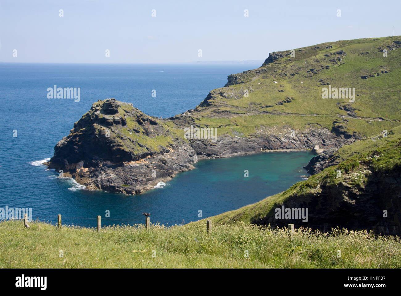 Penally Point and Boscastle Harbour on the north Cornwall coast in England. - Stock Image