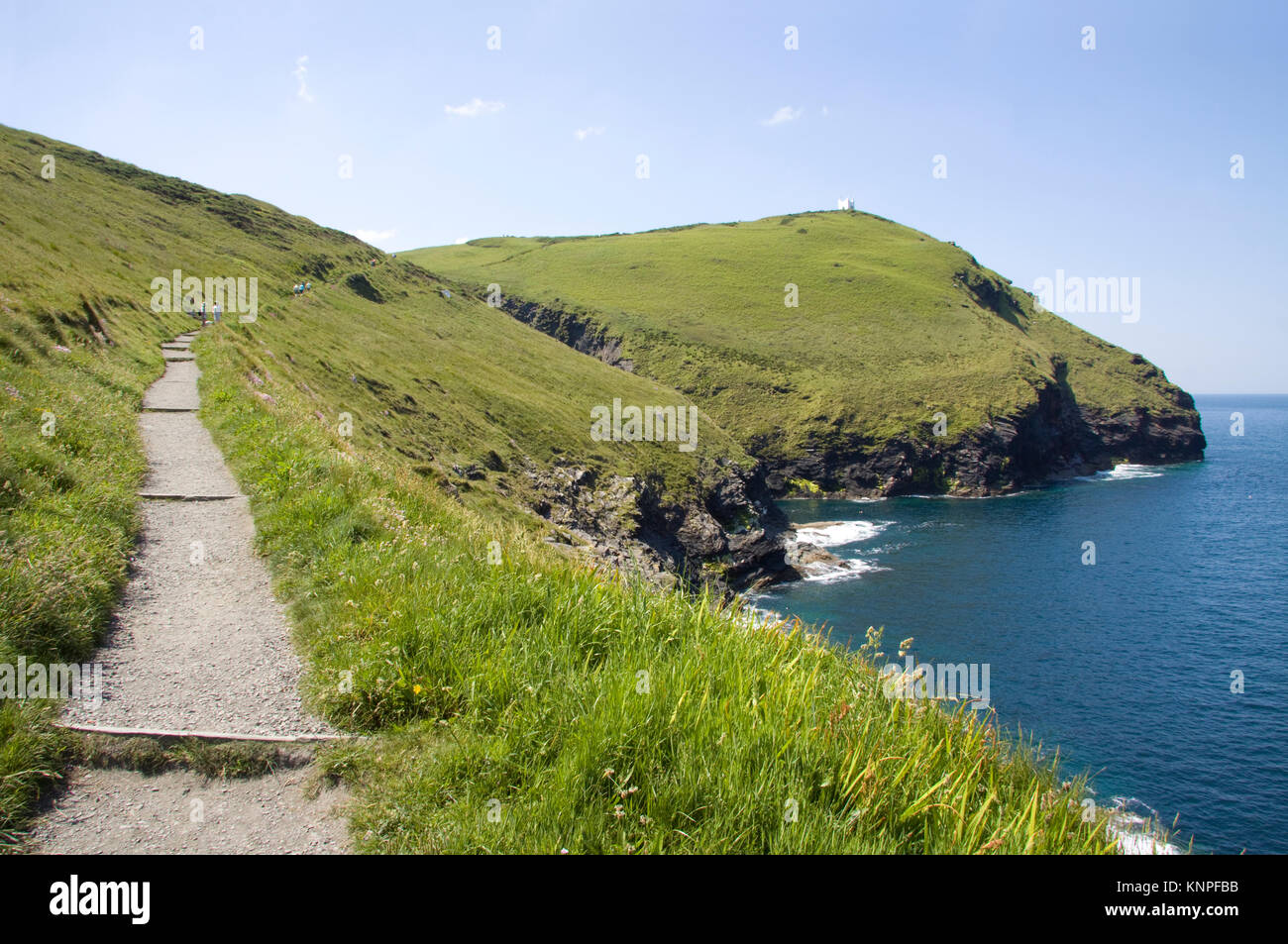 Footpath from Boscastle Harbour leading to the lookout station on top of the ridge. North Cornwall coast, England. - Stock Image