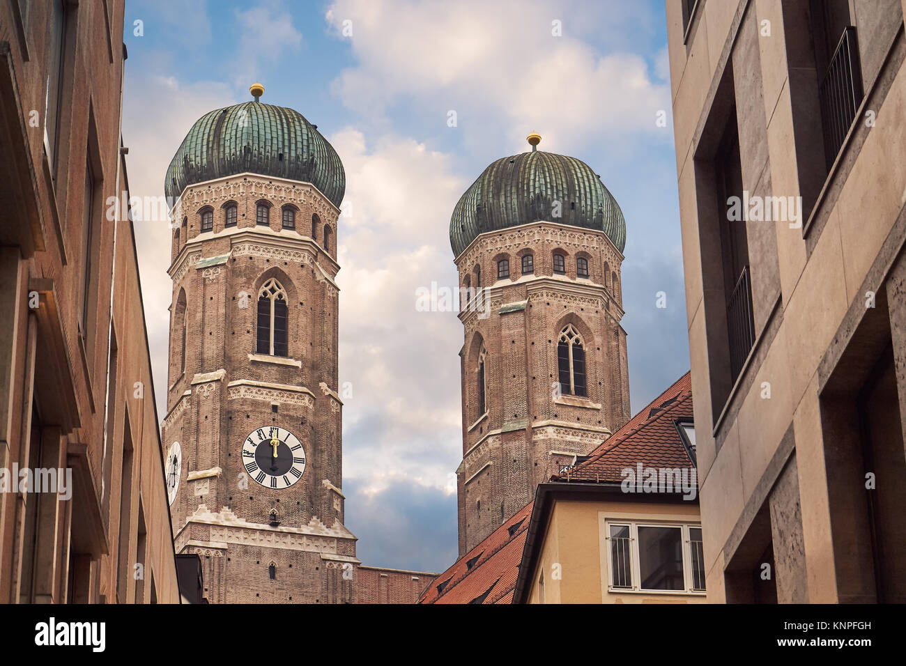Towers of The  Cathedral of Our Dear Lady (Frauenkirche) in Munich, Germany - Stock Image